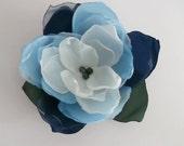 Blue and white fabric flower in handmade, Bridal hair, dress, shoe accessory, Bridesmaids, Flower girls, Weddings, Birthday, Christams gift