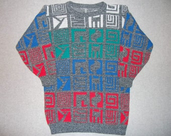 1980s 1990s Hieroglyphics Hipster Egyptian Geometric Shapes Sweater Tacky Gaudy Ugly Christmas Party X-Mas Warm S Small M Medium Beautiful