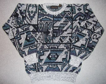 Vintage 80s 90s Aztec Gods Hieroglyphics Geometric Sweater 1980s 1990s Long Sleeve Winter Tacky Gaudy Ugly Christmas Party X-Mas M Medium