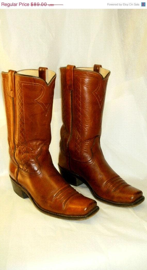 vintage s leather cowboy boots brown by griffincat