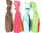 Double Ponytails - Double Hair Tie Bracelets (4)  No Tug Hair Ties - Thick Hair Ties - Ribbon Hair Bands - Knotted Hair Ties - FOE Hair Ties