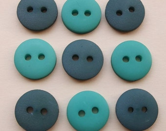 eco friendly contrasting jade and hunter green non decorative buttons--mixed lot of 9