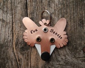 Pet Tag Dog Tag ID Artisan Charm Fox Name Copper Silver Custom Circle Rivets Stamped Keychain Pendant Pet Lover
