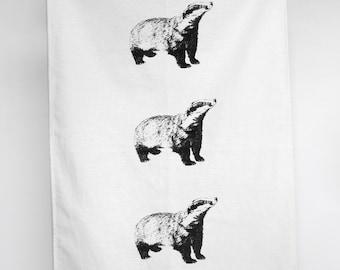 Hand Printed Badger Tea Towel