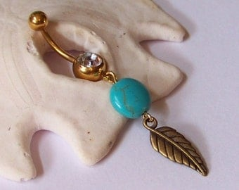 Gold Belly Button Ring - Belly Button Jewelry - Navel Piercing - Antiqued Brass Leaf with Magnesite Coin