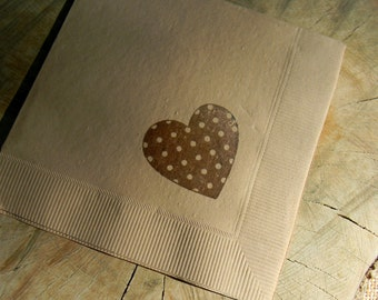 Polka Dot Heart Wedding Cocktail Napkins Decor in Light Burlap with Coffee Brown ink- set of 50