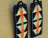 Beaded Earrings, Double Wings, Black and White with Coral and Gold