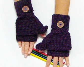 Purple Mittens, Plum Convertible Fingerless Mittens, Texting Mittens, Double Cuff Mittens, Crochet Gloves, Bamboo Silk Gloves