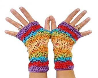 Fingerless Mittens, Rainbow Open Mitts, Crochet Wrist Warmer, Open Gloves, Rainbow Mittens, Texting Mittens,