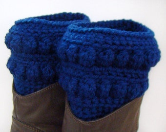 Navy Blue Boot Cuff, Crochet Boot Topper, Faux Boot Sock, Dark Blue Boot Cuff, Boot Cover, Short Blue Legwear, Navy Blue Legwarmers