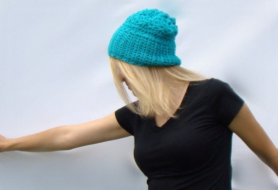 Slouch Hat,  Crochet Beanie,  Womens Aquamarine Blue Peruvian Wool Slouchy Hat, Light Blue Slouch hat, Wool Crochet Hat
