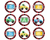 Race Cars 2 inch cupcake toppers