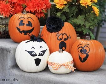 Halloween Pumpkin vinyl faces - set of 4