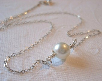 Pearl Necklace Wire Wrapped Pearl, Everyday Necklace, Bridesmaids Wedding Necklace
