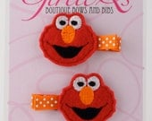 Elmo Felt Hair Clip Clippie 2-pack Embroidered Sesame Street Cookie Monster Big Bird