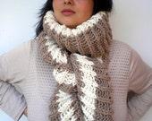 Asimetrical Bicolor Chunky Scarf Mixed Alpaca wool Scarf Woman Fall Winter chunky Knit Scarf NEW