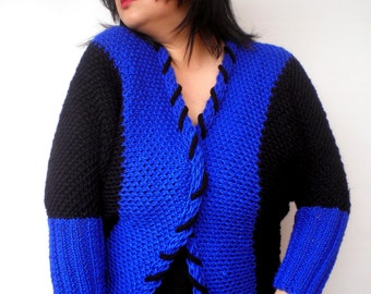 Royal and Black Oversized Sweater Hand Knit Sporty Chic Jacket Woman Sweater Chunky Cardigan NEW