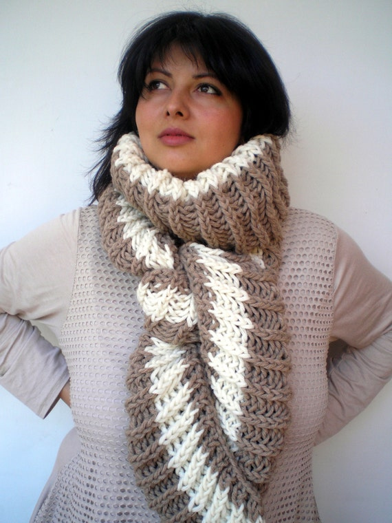 Asimetrical Bicolor Chunky Scarf Mixed Alpaca wool Scarf Woman Fall Winter chunky Knit Scarf NEW