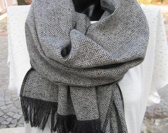 Herringbone Winter scarf -Black Grey long Herringbone-Wool fabric scarf -tweed-Turkey 2015 winter FASHION women's,men's scarves-man fashion