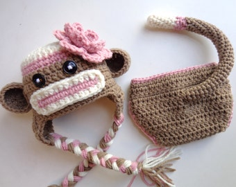 Newborn Crochet Brown and Pink Sock Monkey Hat and Daiper Cover- Photo Prop Baby Girl baby boy