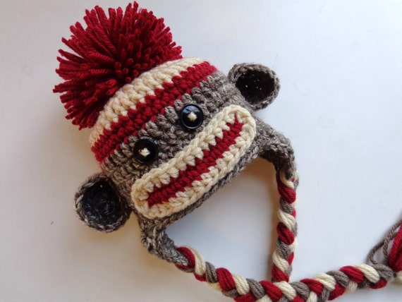 Classic/ Traditional Sock Monkey Crochet Newborn Hat- Photo prop- Baby Girl Baby Boy- Knit Hat