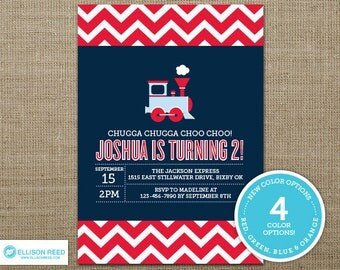 Train Invitation - Train Printable - Train Birthday Party - Chevron Invitation - Choo Choo Train - Boy Birthday - First Birthday