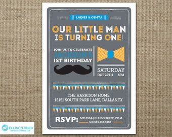 Mustache Invitation - Little Man Birthday Invitation - First Birthday Invitation - Mustache Printable - Bowtie Invitation - Boy Birthday