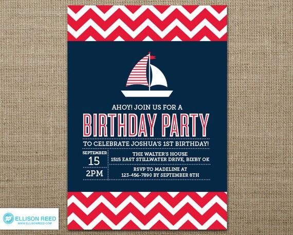 Chevron Nautical Birthday Invitation Nautical Printable – Boat Party Invitation