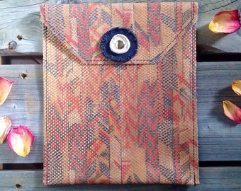 Navajo Leather Ipad Case- Soft Leather Cover - One Of A Kind - Handmade - Gifts for Her
