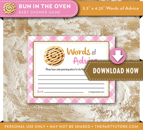 girl baby shower games bun in the oven baby advice cards printable