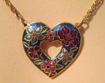 Vintage Blue Heart Cloisonne Necklace