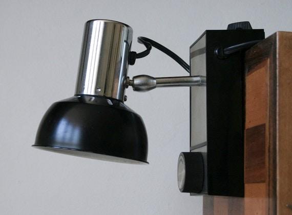 modern 1970 39 s black chrome headboard clamp clip lamp. Black Bedroom Furniture Sets. Home Design Ideas