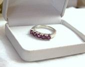 Wedding Anniversary Ring Rhodolite & Sterling Ring Authentic Vintage Artisan Altered Genuine Garnet Gemstone 5 Stone Band