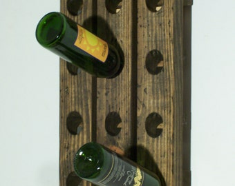Old Country Style Riddling Rack Distressed Wood Antiqued 12-Bottle Winerack