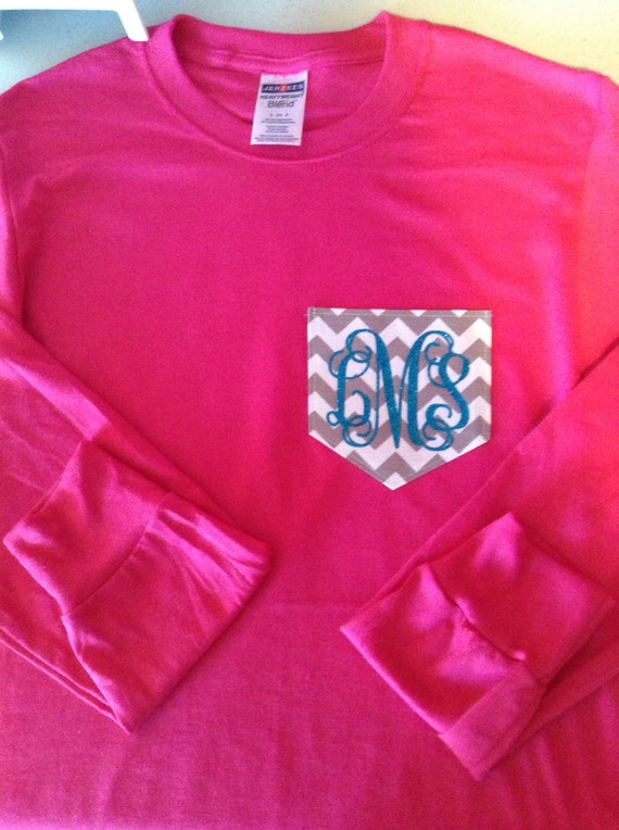 Long Sleeve Monogram Chevron Pocket T Shirt By Youninkboutique
