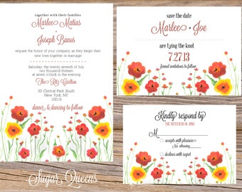 Watercolor Meadows Wedding Invitation Suite DIY Printable Custom Save The Date RSVP Table Numbers