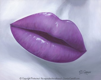 Lip wall art, Pop art print, Plum Purple gray artwork, Contemporary, Modern, Master bedroom decor, Kiss art, Master bathroom, Home decor
