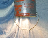 Minnow bucket pendant light, up-cycled lighting, farm style lighting, orange and silver