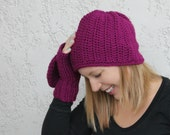 Women's Crocheted Hat and Convertible Mittens, You pick color, Women's Beanie, Glittens, Made to Order