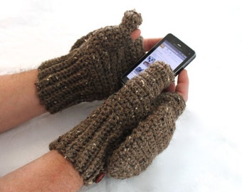 Men's Convertible Texting Mittens, You pick color, Made to Order