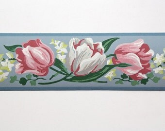 Full Vintage Wallpaper Border - TRIMZ - Pink and White Tulips on Blue