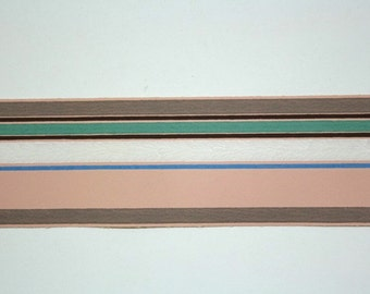 Full Vintage Wallpaper Border - TRIMZ - Pink, Brown, Green, White, and Blue Stripe