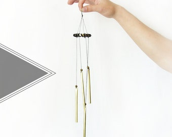 Black Leather Wrapped Brass WINDCHIME || Home Decor
