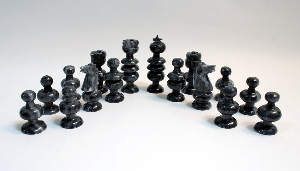 Chess set playing pieces gray onyx carved stone by preciousltd - Granite chess pieces ...