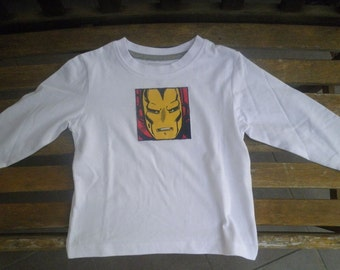 Long sleeve IRON MAN applique shirt, size 1