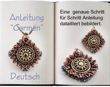 Jewelry tutorial .... Carmen...  Anleitung in Deutsch. Sehr schöner Anhänger mit Knopf.