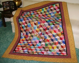 The Amazing Etsy Tumbling Blocks Rescue Quilt