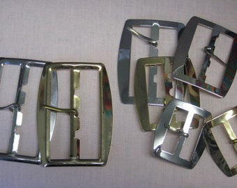 Rectangular metal belt buckles in 4 sizes