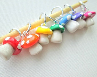 Rainbow Toadstool Stitch Markers- set of 7