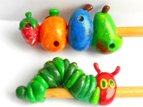 Cute Caterpillar Knitting Needles-- you choose size